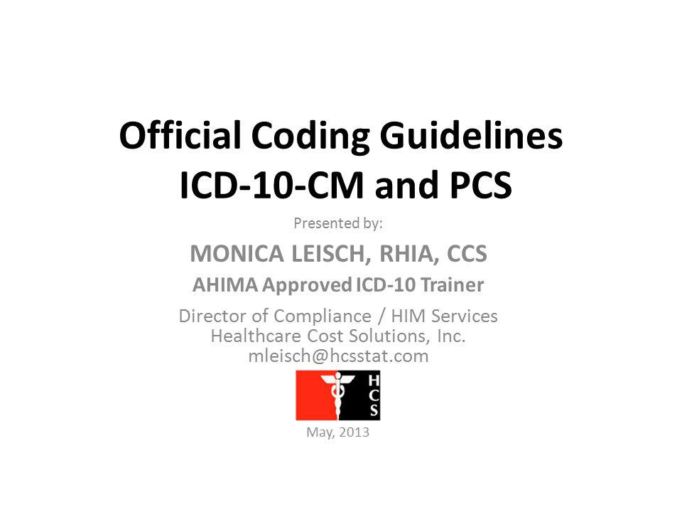 Official Coding Guidelines ICD-10-CM and PCS