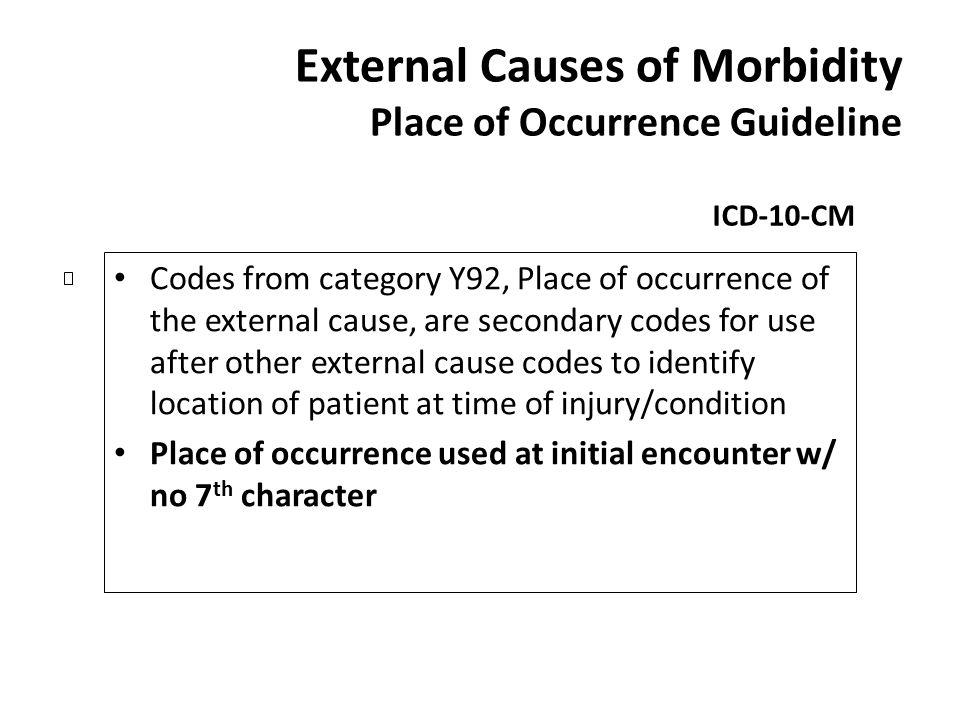 External Causes of Morbidity Place of Occurrence Guideline