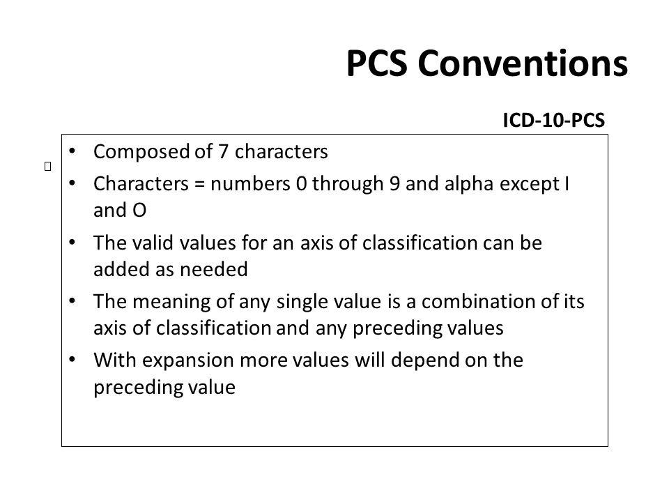 PCS Conventions ICD-10-PCS Composed of 7 characters