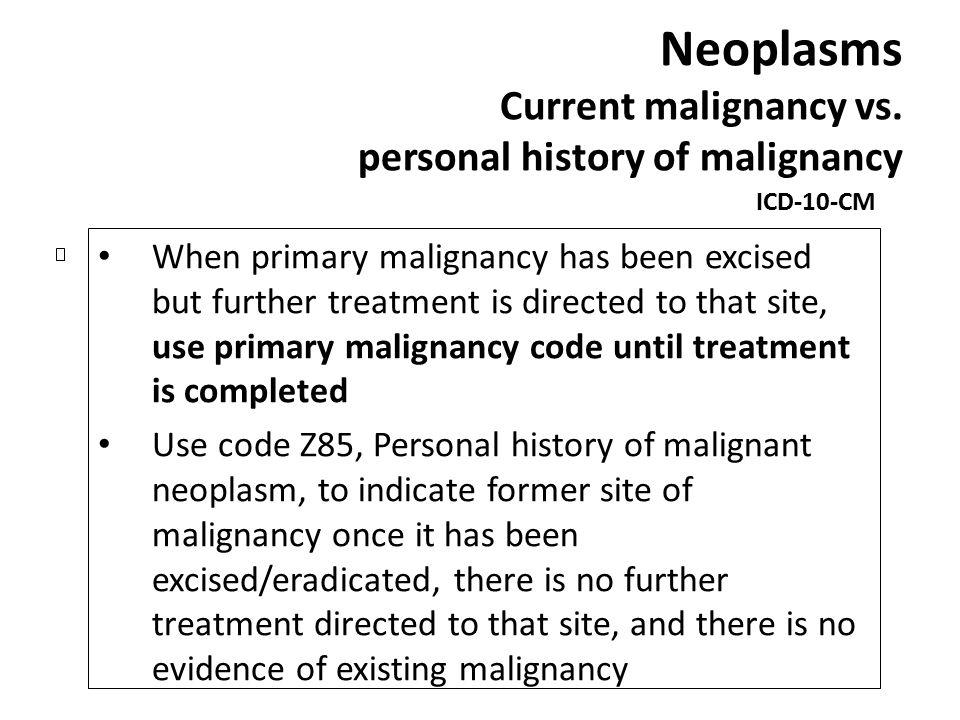 Neoplasms Current malignancy vs. personal history of malignancy