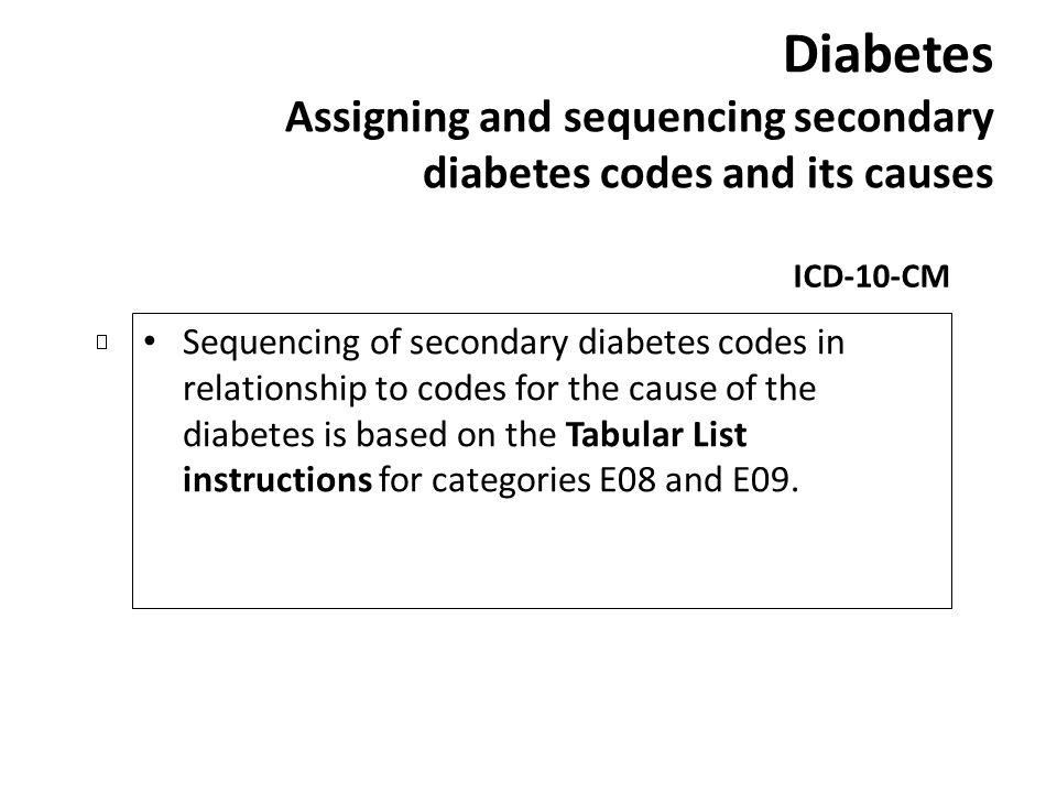 Diabetes Assigning and sequencing secondary diabetes codes and its causes