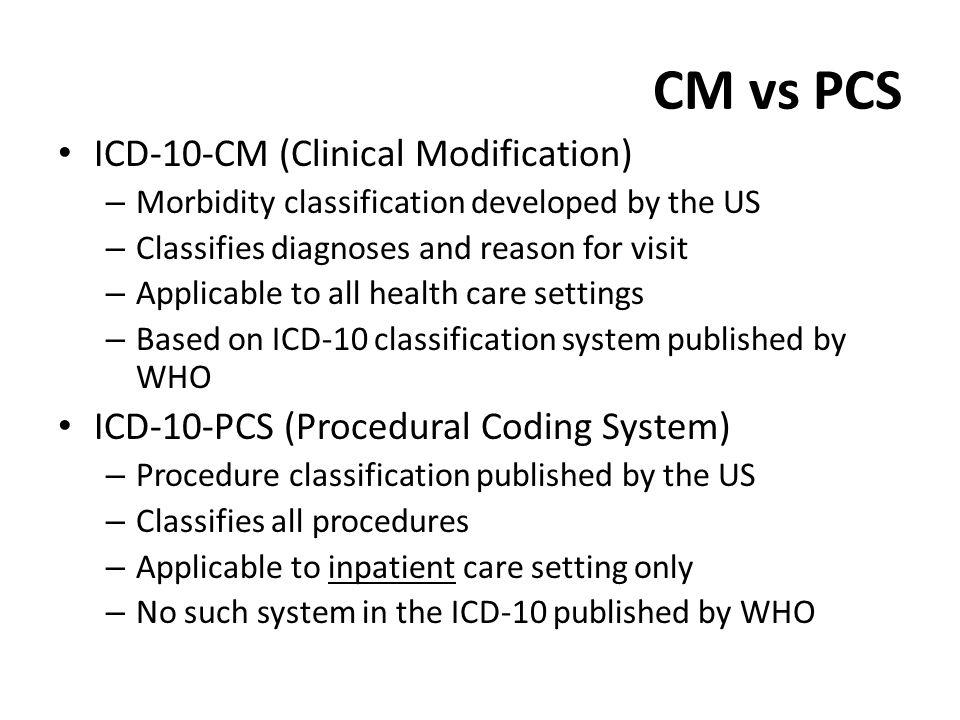 CM vs PCS ICD-10-CM (Clinical Modification)
