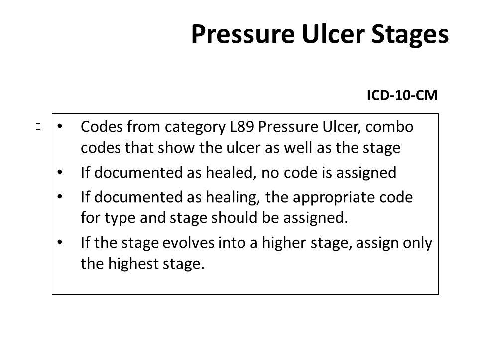 Pressure Ulcer Stages ICD-10-CM. Codes from category L89 Pressure Ulcer, combo codes that show the ulcer as well as the stage.