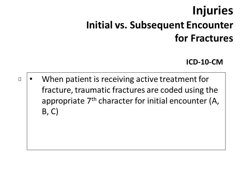 Injuries Initial vs. Subsequent Encounter for Fractures