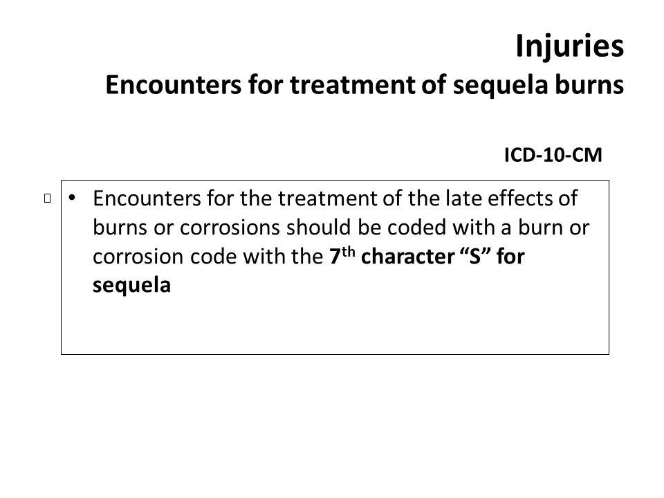 Injuries Encounters for treatment of sequela burns