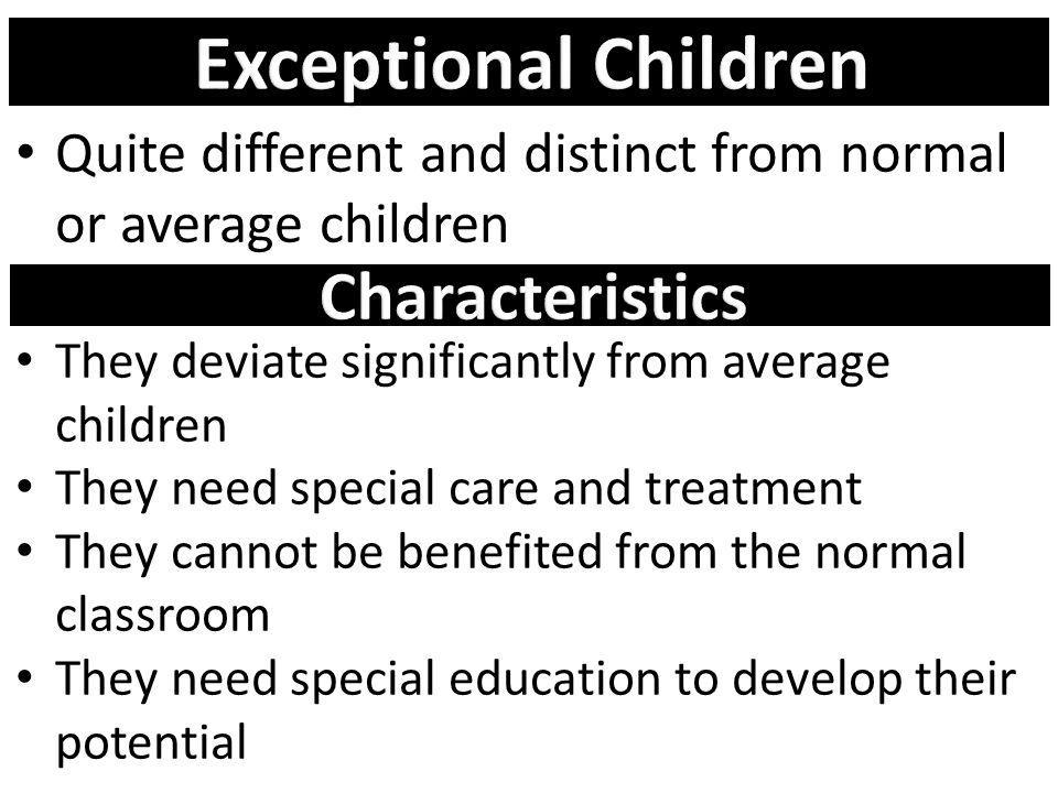 Exceptional Children Characteristics