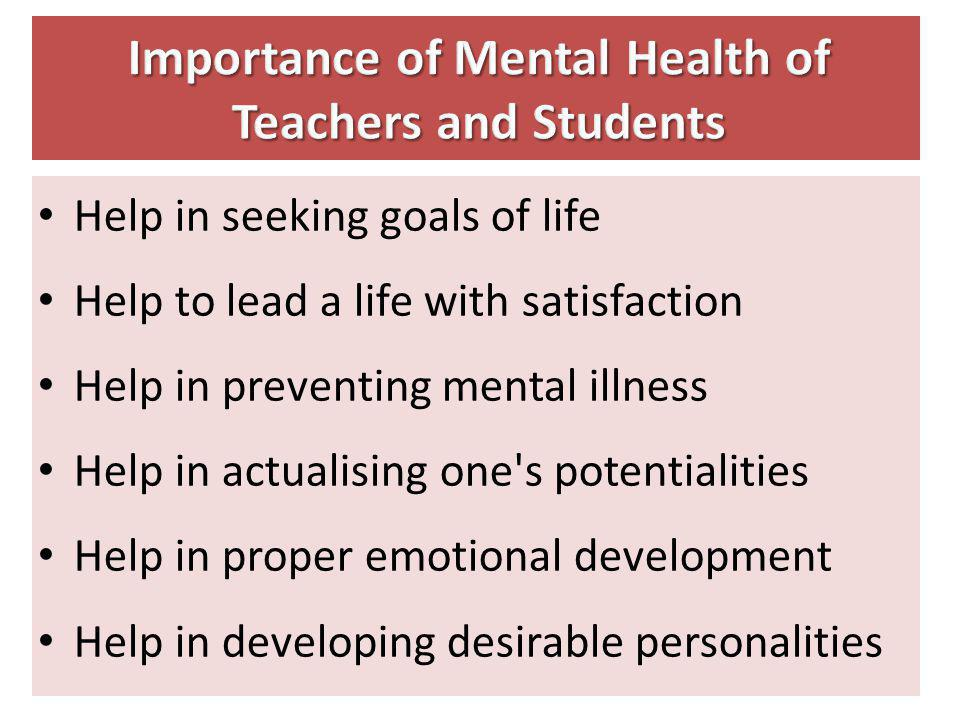 Importance of Mental Health of Teachers and Students