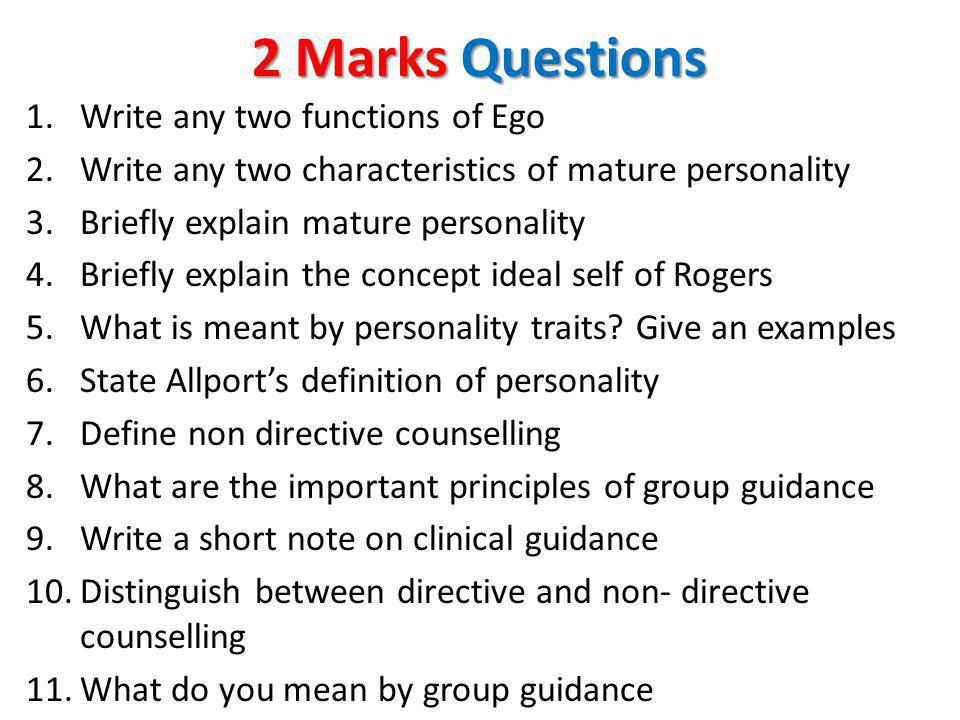 2 Marks Questions Write any two functions of Ego