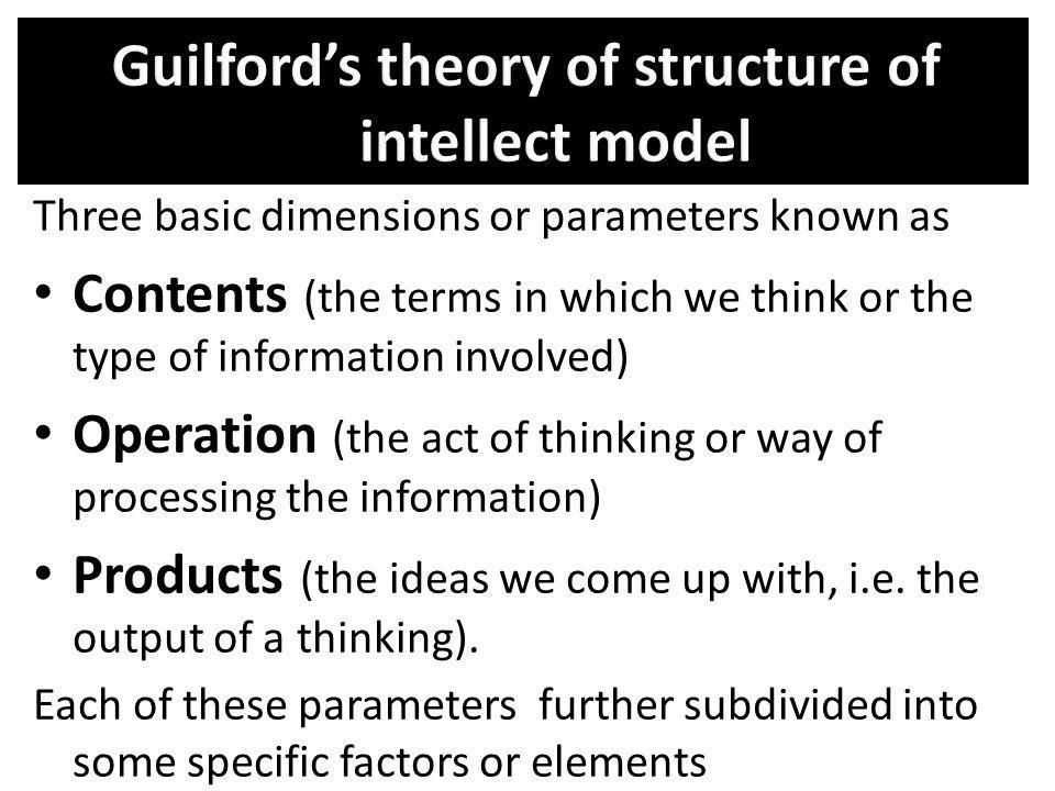 Guilford's theory of structure of intellect model