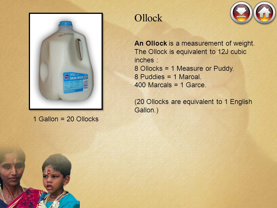Ollock An Ollock is a measurement of weight. The Ollock is equivalent to 12J cubic inches :