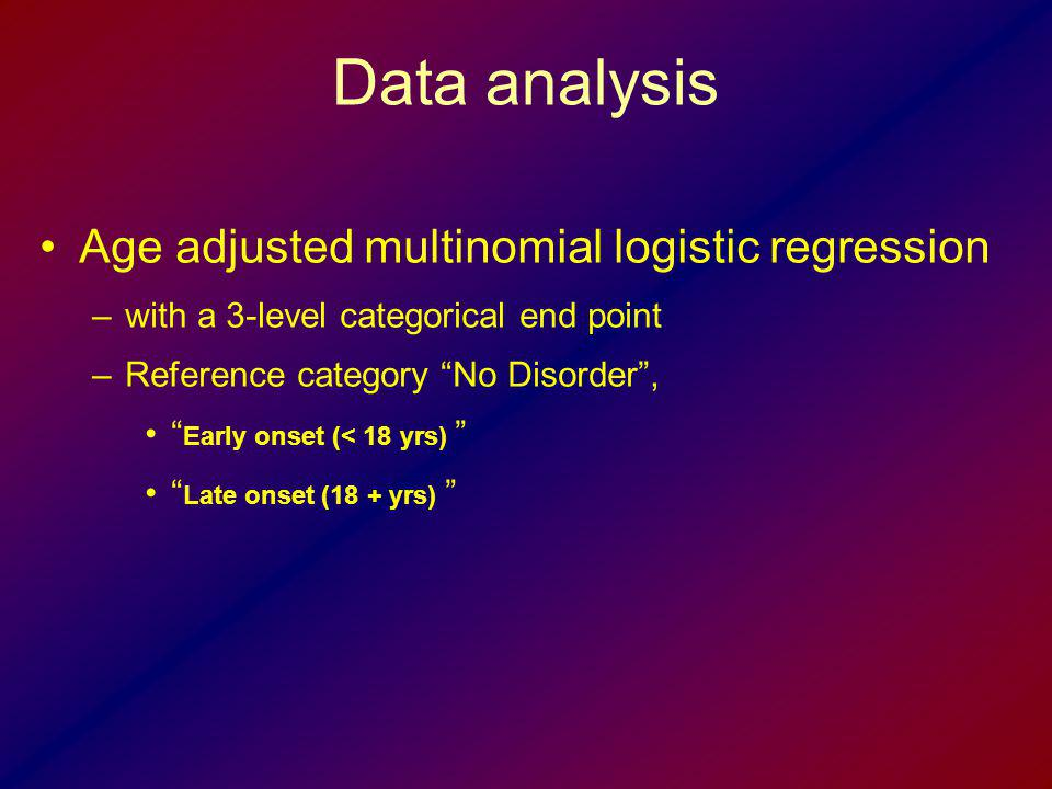 Data analysis Age adjusted multinomial logistic regression