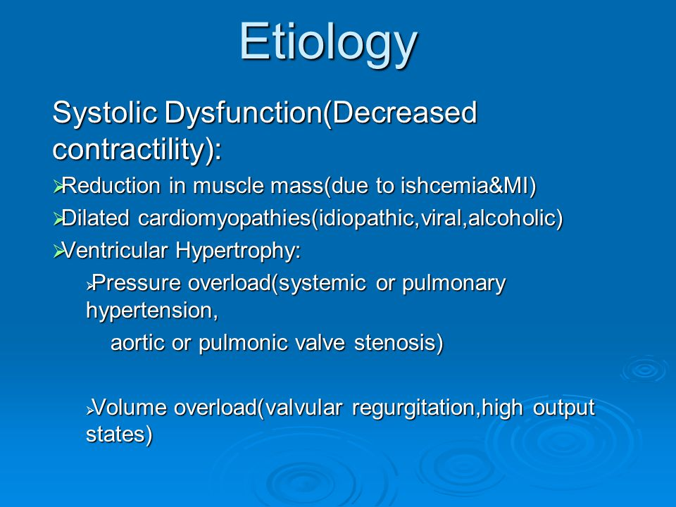 Etiology Systolic Dysfunction(Decreased contractility):