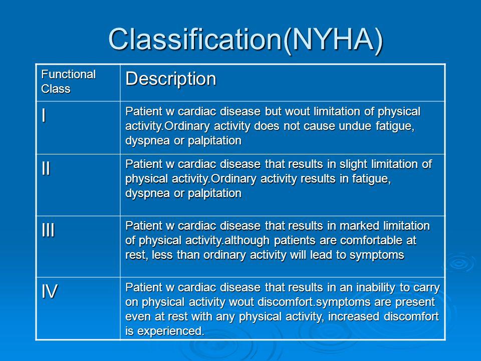 Classification(NYHA)