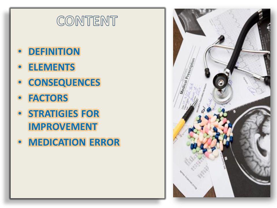 CONTENT DEFINITION ELEMENTS CONSEQUENCES FACTORS