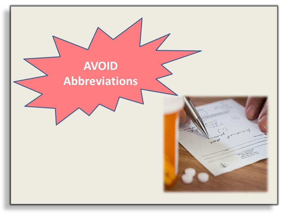 AVOID Abbreviations