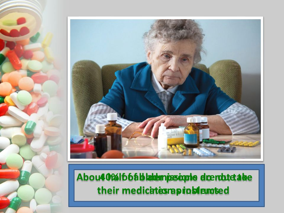 About half of older people do not take their medicines as instructed