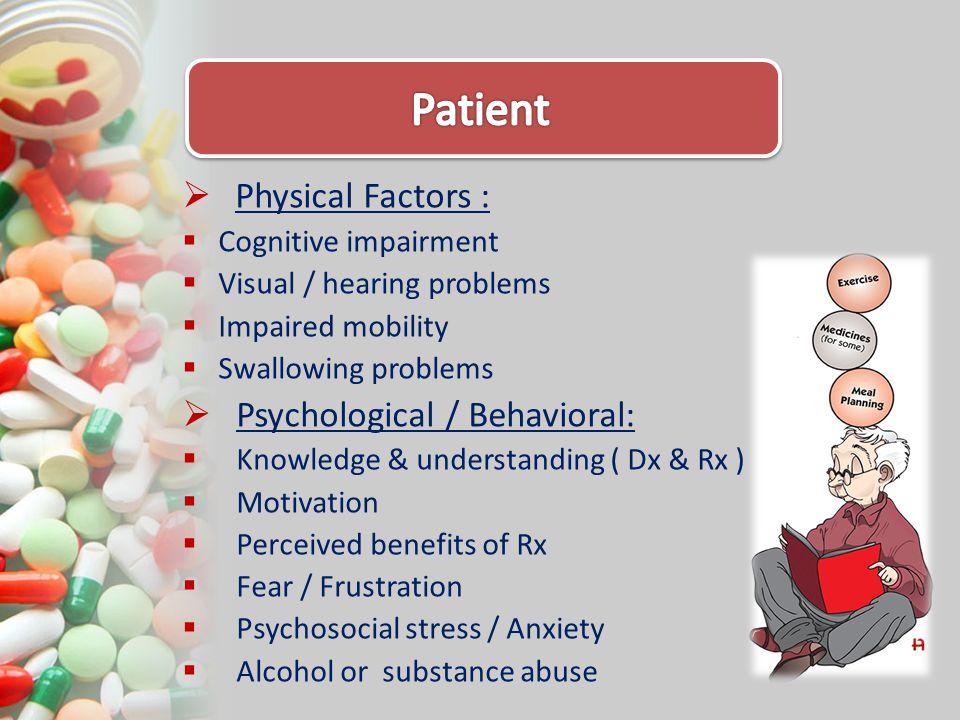 Patient Physical Factors : Psychological / Behavioral: