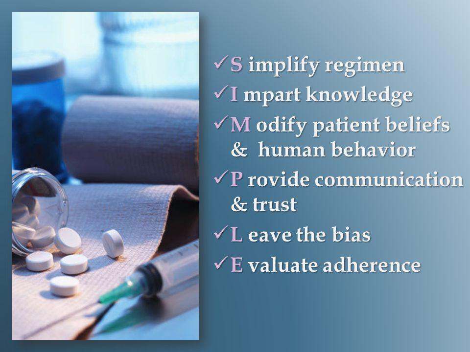 S implify regimen I mpart knowledge. M odify patient beliefs & human behavior. P rovide communication & trust.