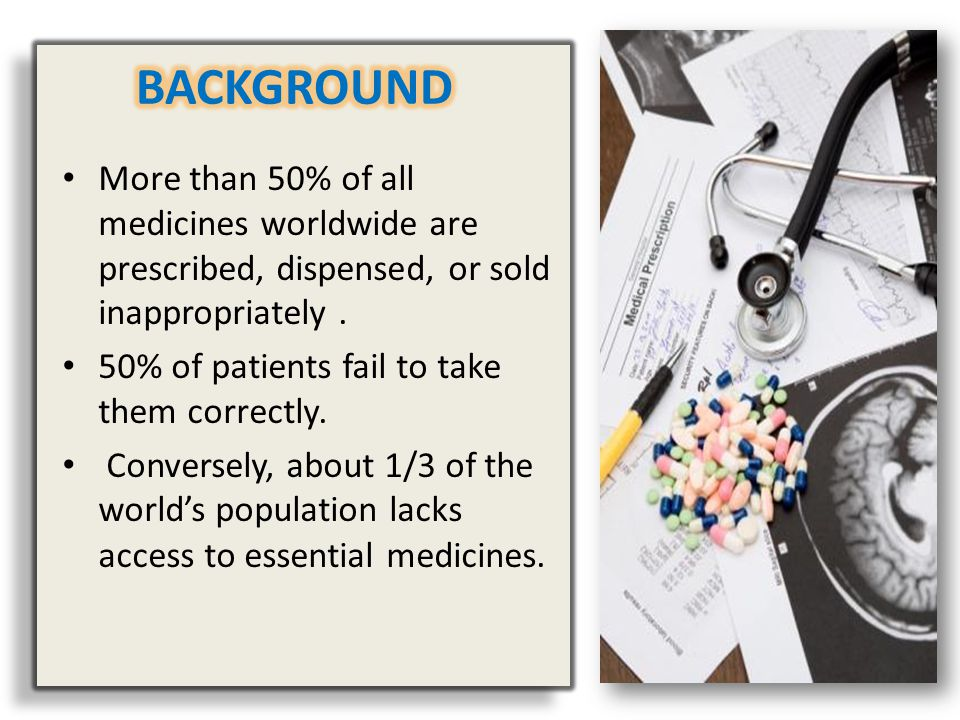 BACKGROUND More than 50% of all medicines worldwide are prescribed, dispensed, or sold inappropriately .
