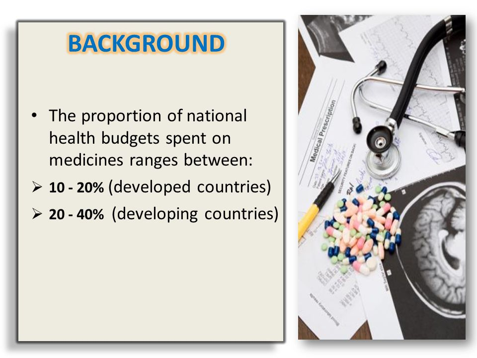 BACKGROUND The proportion of national health budgets spent on medicines ranges between: 10 - 20% (developed countries)