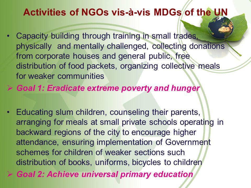 Activities of NGOs vis-à-vis MDGs of the UN