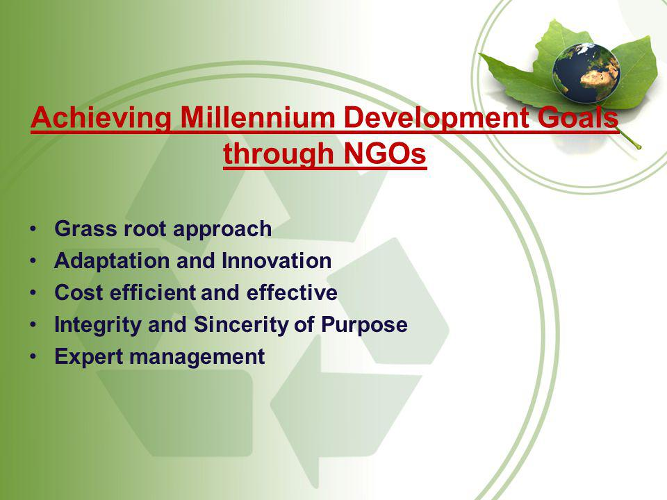 Achieving Millennium Development Goals through NGOs