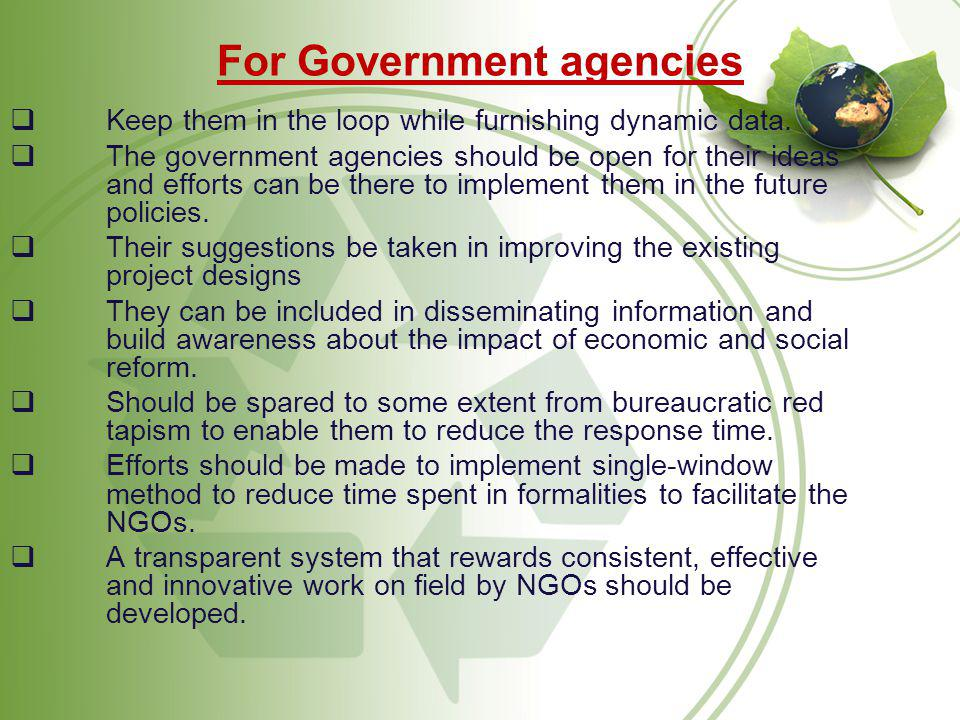 For Government agencies