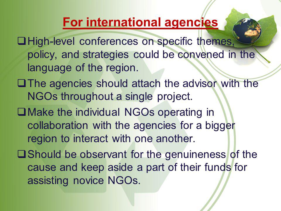 For international agencies