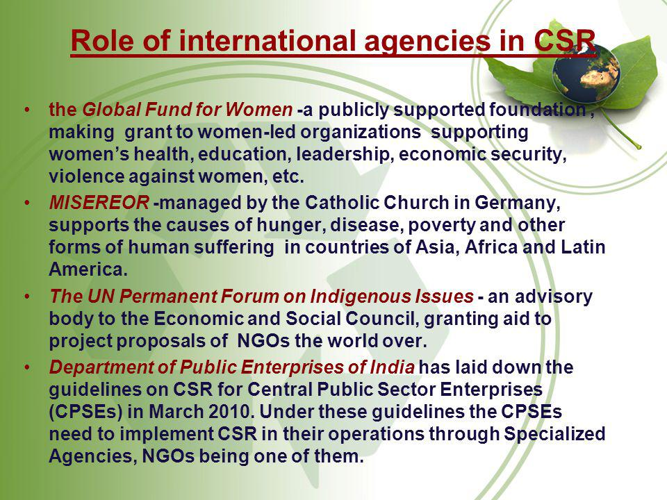 Role of international agencies in CSR