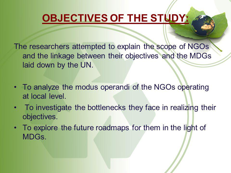 OBJECTIVES OF THE STUDY: