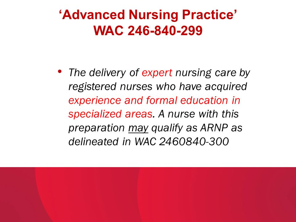 'Advanced Nursing Practice' WAC 246-840-299