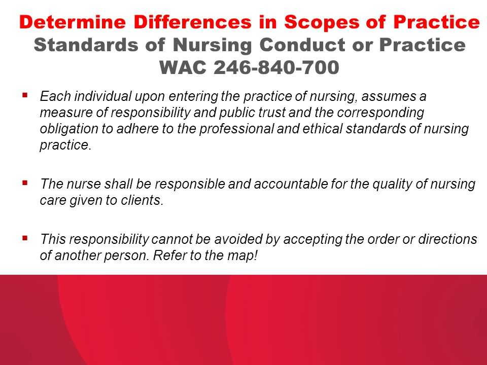 Determine Differences in Scopes of Practice Standards of Nursing Conduct or Practice WAC 246-840-700