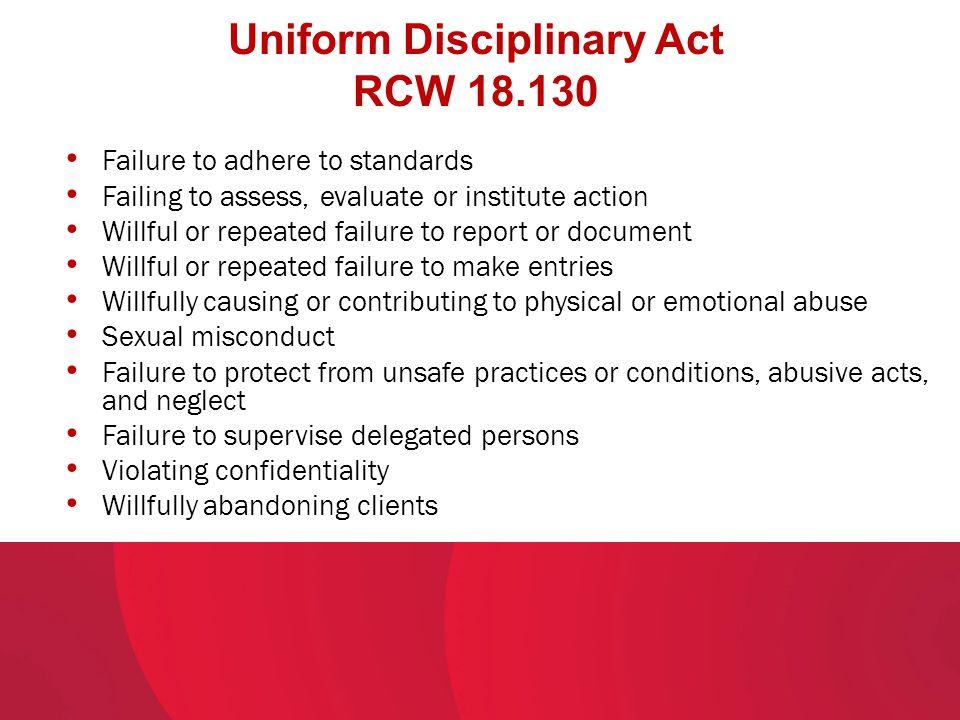 Uniform Disciplinary Act RCW 18.130