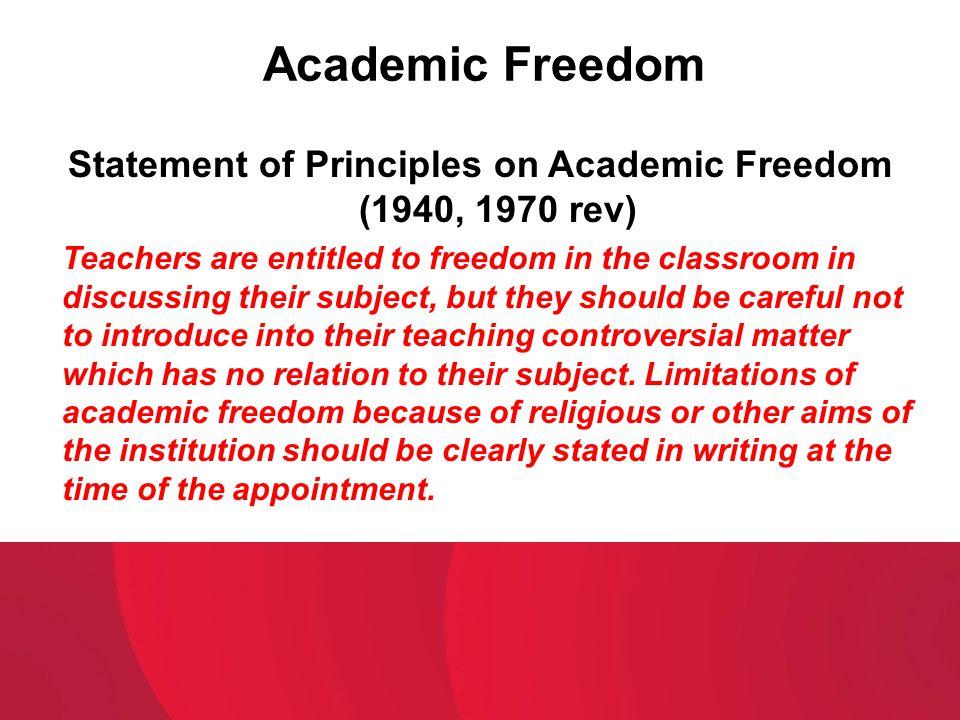 Statement of Principles on Academic Freedom (1940, 1970 rev)