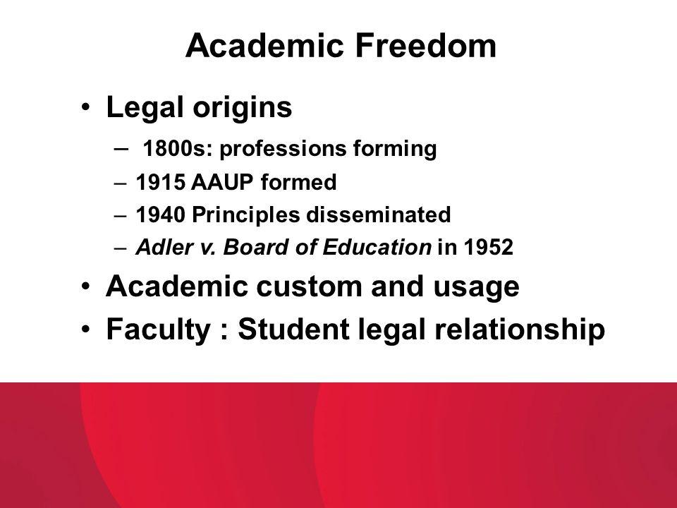 Academic Freedom Legal origins Academic custom and usage