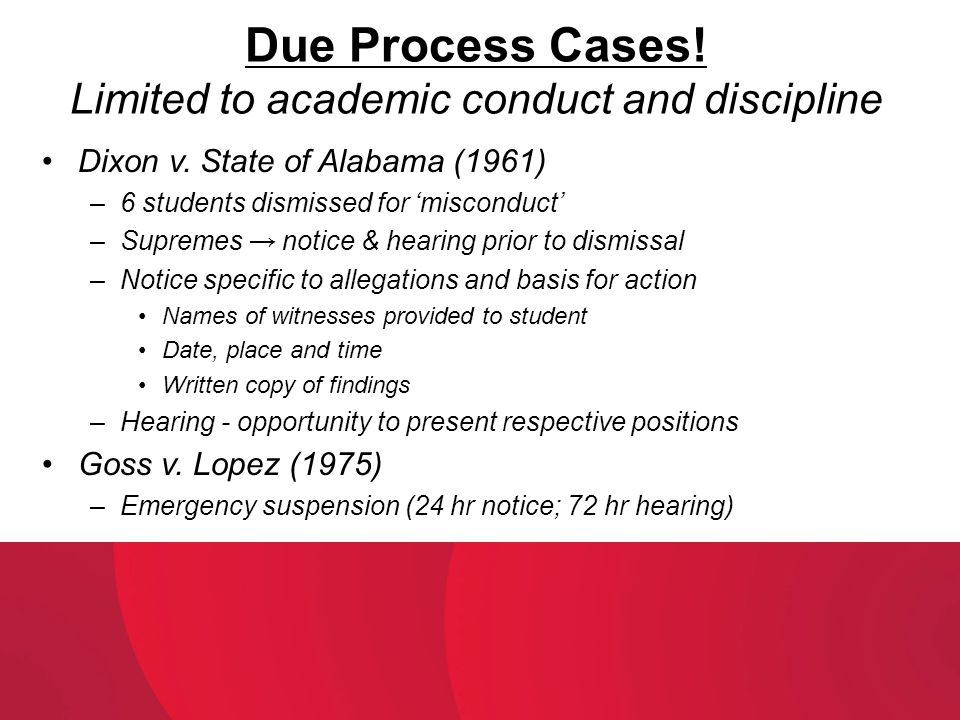Due Process Cases! Limited to academic conduct and discipline
