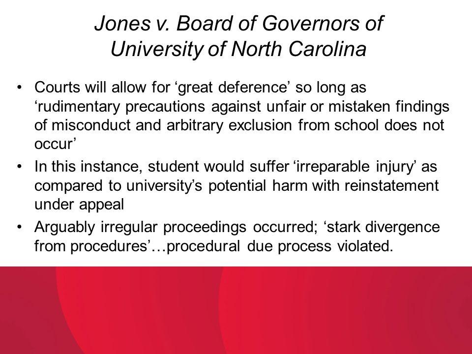 Jones v. Board of Governors of University of North Carolina