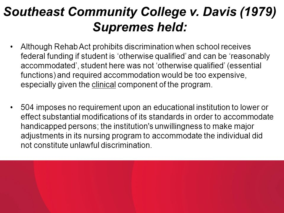 Southeast Community College v. Davis (1979) Supremes held: