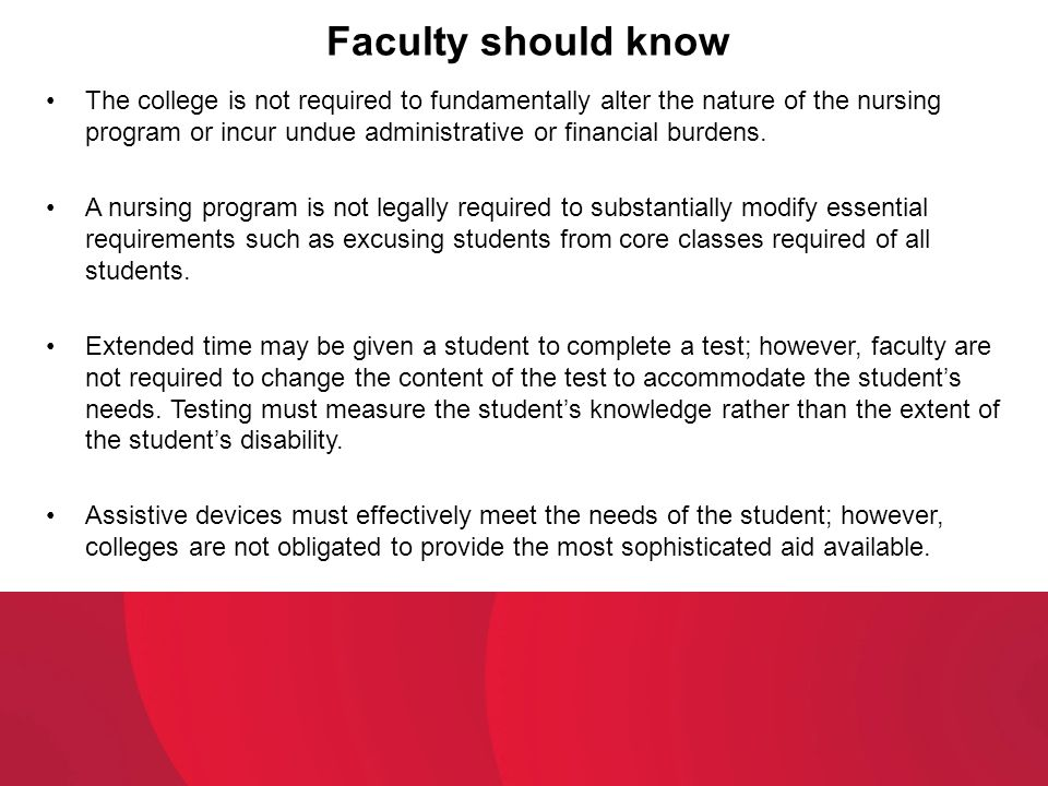 Faculty should know