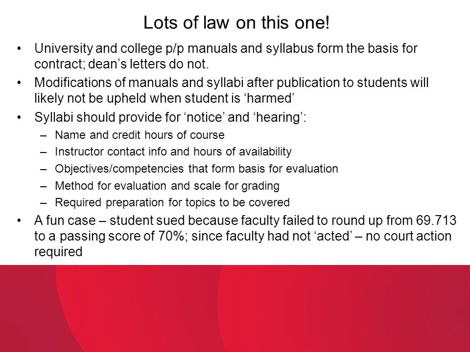 Lots of law on this one! University and college p/p manuals and syllabus form the basis for contract; dean's letters do not.