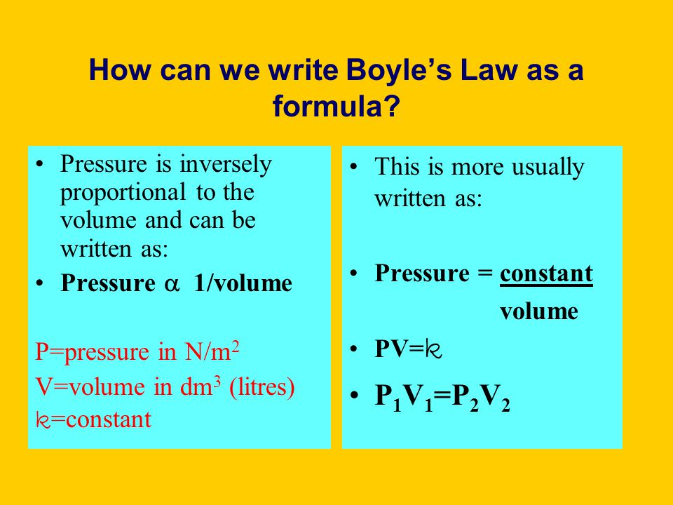 How can we write Boyle's Law as a formula