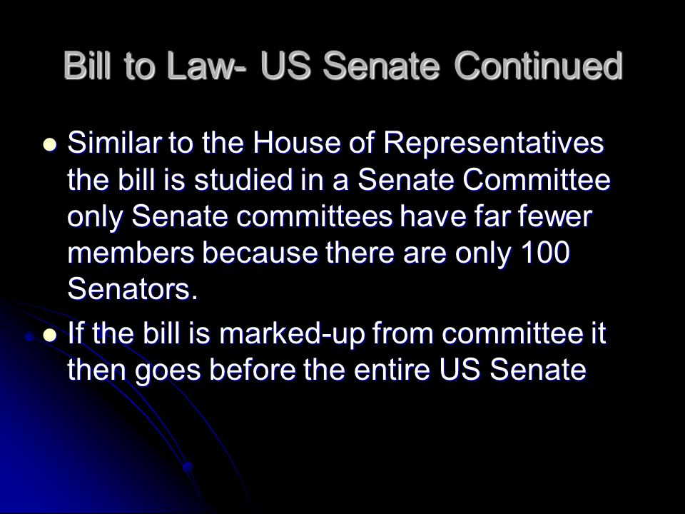 Bill to Law- US Senate Continued