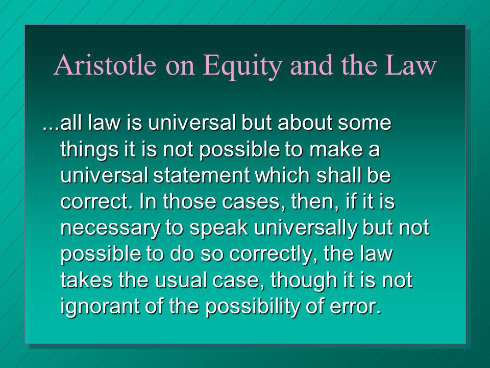 Aristotle on Equity and the Law