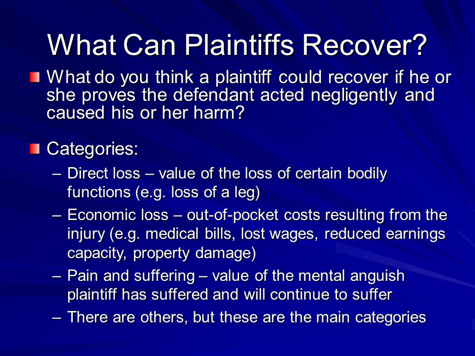 What Can Plaintiffs Recover