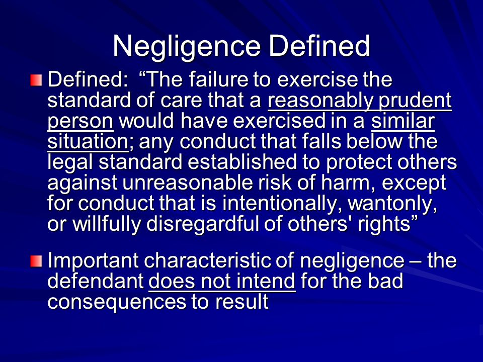 Negligence Defined