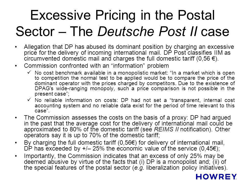 Excessive Pricing in the Postal Sector – The Deutsche Post II case