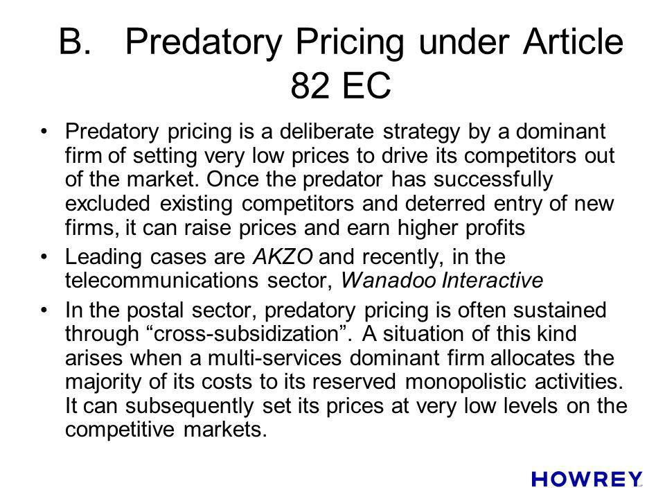 B. Predatory Pricing under Article 82 EC