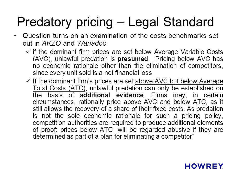 Predatory pricing – Legal Standard