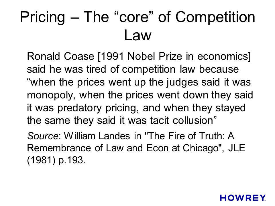 Pricing – The core of Competition Law