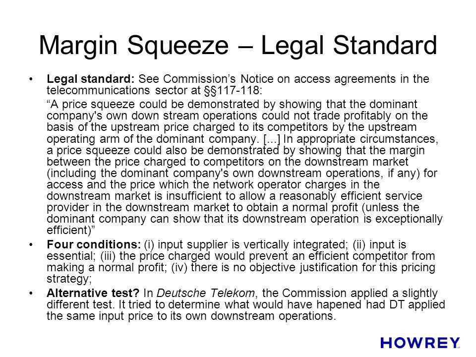 Margin Squeeze – Legal Standard